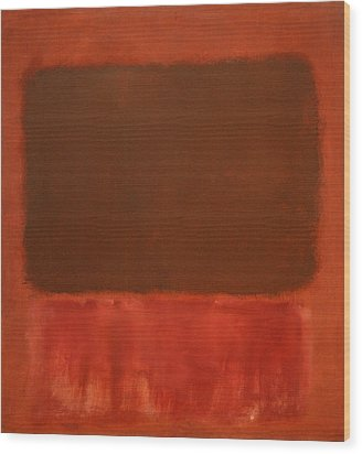 Rothko's Mulberry And Brown Wood Print