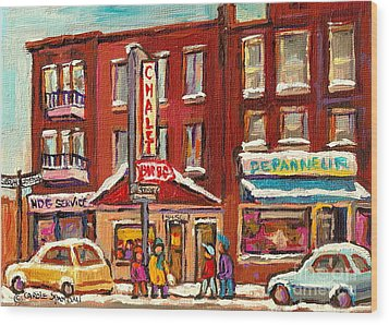 Rotisserie Le Chalet Bar B Q Sherbrooke West Montreal Winter City Scene Wood Print by Carole Spandau