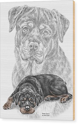 Rottie Charm - Rottweiler Dog Print With Color Wood Print