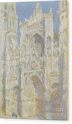 Rouen Cathedral West Facade Wood Print by Claude Monet