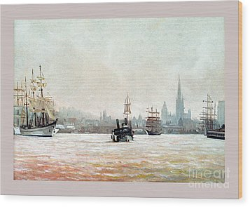 Rouen-tall Ships Wood Print by Caroline Beaumont