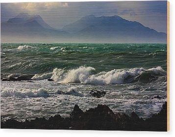 Wood Print featuring the photograph Rough Seas Kaikoura New Zealand by Amanda Stadther