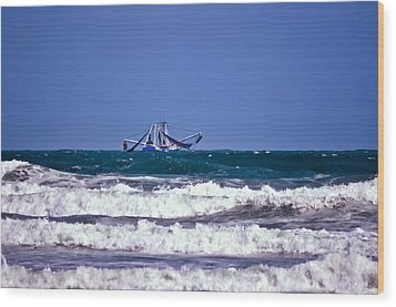 Wood Print featuring the photograph Rough Seas Shrimping by DigiArt Diaries by Vicky B Fuller