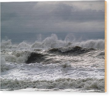 Rough Waves Wood Print by Deborah Hughes