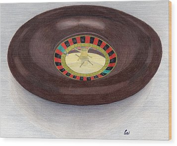 Roulette Wheel Wood Print by Bav Patel