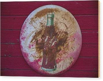 Round Coke Sign Wood Print by Garry Gay