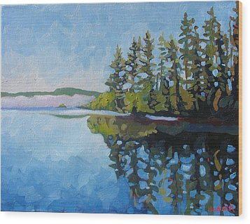 Round Lake Mirror Wood Print by Phil Chadwick