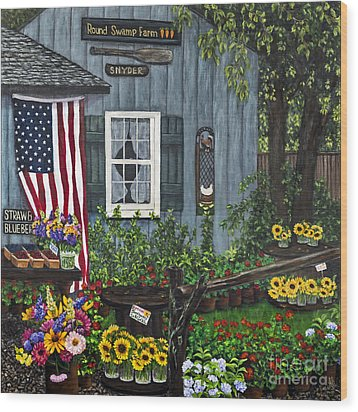 Round Swamp Farm By Alison Tave Wood Print by Sheldon Kralstein