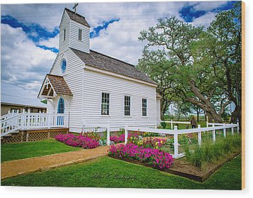 Round Top Chapel Wood Print