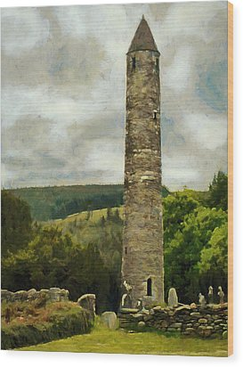 Round Tower At Glendalough Wood Print by Jeff Kolker