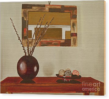 Wood Print featuring the painting Round Vase by Laura Forde