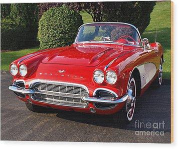 Route 66 - 1961 Corvette Wood Print