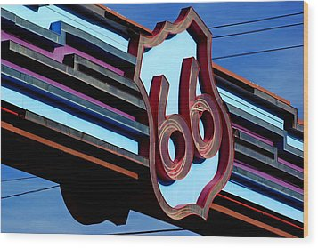 Route 66 Archway Wood Print by Daniel Woodrum