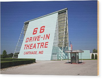 Route 66 Drive-in Theatre Wood Print by Frank Romeo