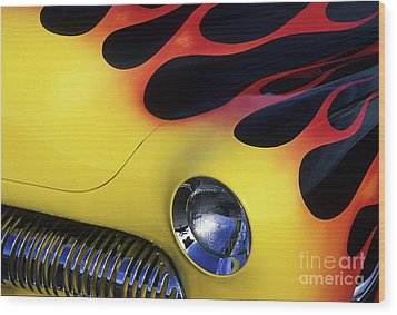 Route 66 Flaming Rod Wood Print by Bob Christopher