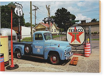 Route 66 - Gas Station With Watercolor Effect Wood Print