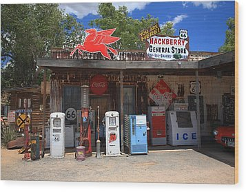 Route 66 - Hackberry General Store Wood Print by Frank Romeo