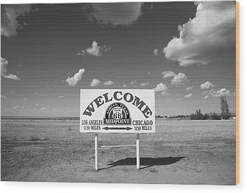 Route 66 - Midpoint Sign Wood Print by Frank Romeo