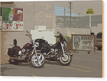 Route 66 Motorcycles With A Dry Brush Effect Wood Print by Frank Romeo