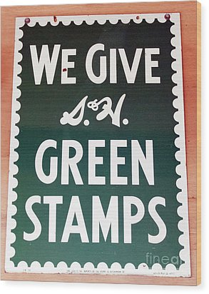 Route 66 Odell Il Gas Station Green Stamps Signage Wood Print by Thomas Woolworth