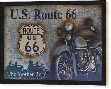 Route 66 Odell Il Gas Station Motorcycle Signage Wood Print by Thomas Woolworth