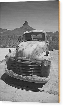 Route 66 - Old Chevy Pickup Wood Print by Frank Romeo