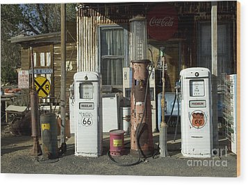 Route 66 Pumps Wood Print by Bob Christopher
