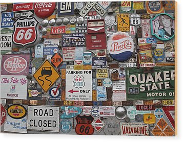 Route 66 Signs Wood Print by Lynn Sprowl