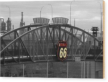 Route 66 Tulsa Sign Bw Splash Wood Print