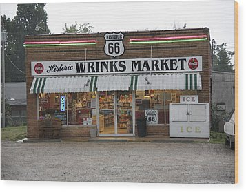 Route 66 - Wrink's Market Wood Print by Frank Romeo