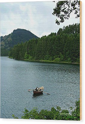 Wood Print featuring the photograph Row Boat At Dorena Lake  by Mindy Bench