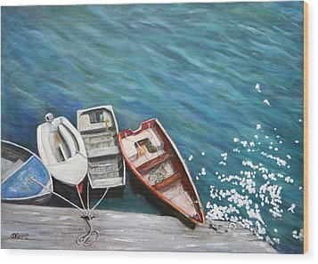 Wood Print featuring the painting Row Boats At Dock by Sandra Nardone