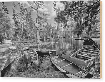 Row Boats In Cypress Tree Swamp IIi Wood Print by Dan Carmichael