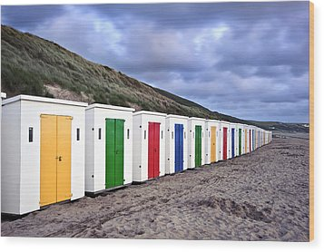 Row Of Colorful Beach Huts  Wood Print by Matthew Gibson