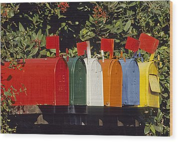 Row Of Colorful Mailboxes Wood Print by David Litschel