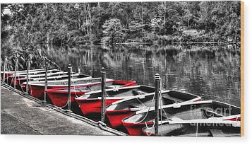 Row Of Red Rowing Boats Wood Print by Kaye Menner