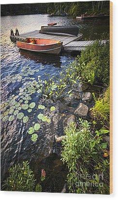 Rowboat At Lake Shore Wood Print by Elena Elisseeva