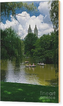 Rowboats Central Park New York Wood Print by Amy Cicconi