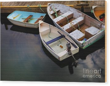Rowboats Wood Print by Diane Diederich