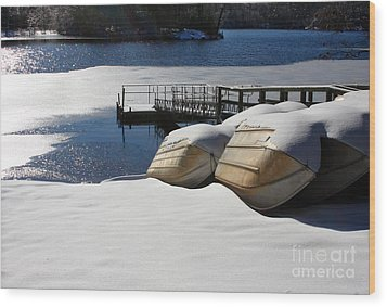 Rowboats Resting In Winter Wood Print by Rafael Quirindongo