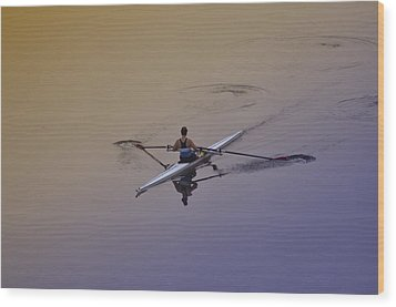 Rower Wood Print by Bill Cannon