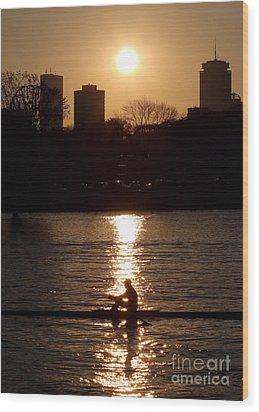 Rower Sunrise Wood Print