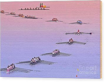 Rowers Arc Wood Print by Gary Holmes