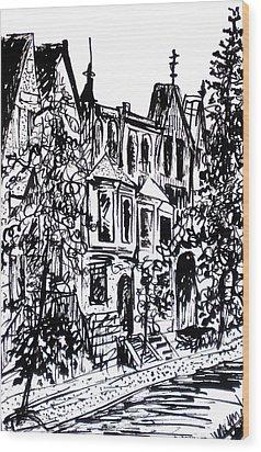 Rowhouses Wood Print by Deborah Dendler