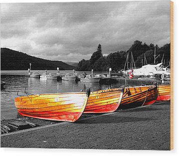 Rowing Boats Ready For Work Wood Print