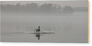 Rowing Into Morning Fog Wood Print by Gary Slawsky