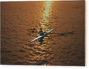 Rowing Into The Sunset Wood Print by Bill Cannon