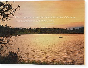 Rowing Into The Sunset Wood Print by Kelly Reber