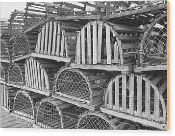 Rows Of Old And Abandoned Lobster Traps Wood Print by John Telfer