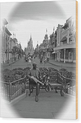 Roy And Minnie Mouse Black And White Magic Kingdom Walt Disney World Wood Print by Thomas Woolworth